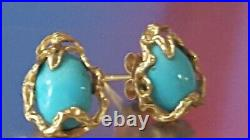 Vintage 14k Yellow Gold Genuine Sleeping Beauty Turquoise Studs Earrings