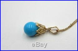 Vintage 14k gold chain & turquoise (sleeping beauty) bead pendant necklace