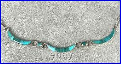 Vintage 17 Necklace Channel Inlay Natural Sleeping Beauty Turquoise Sterling