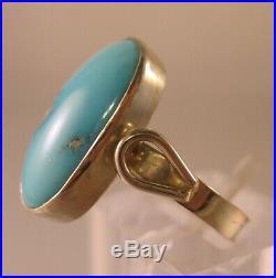 Vintage 18K Yellow Gold Sleeping Beauty Turqoise Ring. 750 European Size 7