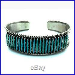 Vintage 1960's Zuni Sterling Silver Sleeping Beauty Needlepoint Cuff Bracelet