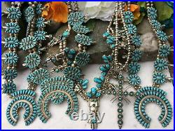Vintage 26 Navajo Sleeping Beauty Turquoise Sterling Squash Blossom Necklace