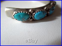 Vintage 7 Southwest Sleeping Beauty Turquoise Sterling Silver Cuff Bracelet 30g