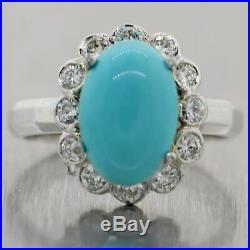 Vintage Estate 14k White Gold Sleeping Beauty Turquoise & 0.60ctw Diamond Ring