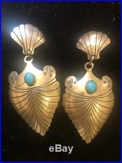 Vintage Estate Sterling Silver Native American Earrings Turquoise Signed P
