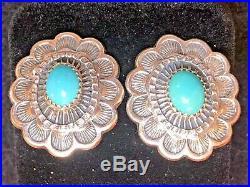 Vintage Estate Sterling Turquoise Earrings Native American Sleeping Beauty