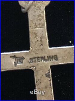 Vintage Estate Sterling Zuni Cross Religious Sleeping Beauty Turquoise Pendant