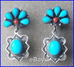Vintage LEO FEENEY Sterling Sleeping Beauty Turquoise Drop Earrings withCoral