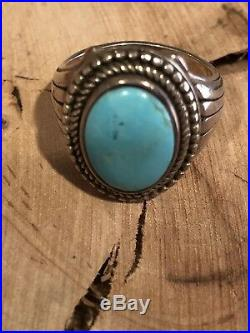 Vintage Mens Old Pawn NAVAJO Sleeping Beauty Turquoise Sterling Silver Ring