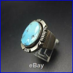 Vintage NAVAJO Heavy Gauge Sterling Silver SLEEPING BEAUTY TURQUOISE RING size 9