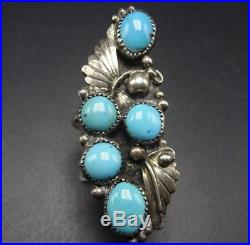 Vintage NAVAJO Sterling Silver & SLEEPING BEAUTY TURQUOISE RING size 10, 10.3g