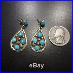 Vintage NAVAJO Sterling Silver & Sleeping Beauty TURQUOISE Cluster EARRINGS