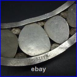 Vintage NAVAJO Sterling Silver & Sleeping Beauty TURQUOISE Cuff BRACELET 58.9g