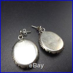 Vintage NAVAJO Sterling Silver & Sleeping Beauty TURQUOISE EARRINGS Pierced