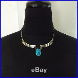 Vintage NAVAJO Sterling Silver & Sleeping Beauty TURQUOISE NECKLACE Choker