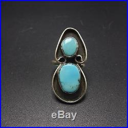 Vintage NAVAJO Sterling Silver & Sleeping Beauty TURQUOISE RING, size 8.5