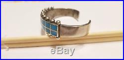 Vintage Native American Dead Pawn Sterling Silver Sleeping Beauty Turquoise Cuff