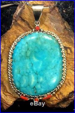 Vintage Native American Rare Sleeping Beauty Zuni Hallmarked Turquoise Pendant