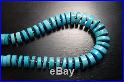 Vintage Natural Sleeping Beauty Turquoise Heishi Bead Necklace/ Southwestern