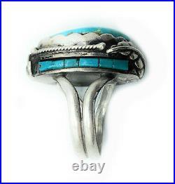 Vintage Navajo 1960's Sterling Silver Split Shank Turquoise Ring