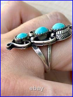 Vintage Navajo 925 Sterling Silver Signed PJ Sleeping Beauty Turquoise Ring