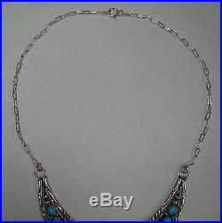 Vintage Navajo B. JOHNSON Sterling Silver Sleeping Beauty Turquoise Necklace