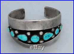 Vintage Navajo Bracelet Seven Natural Sleeping Beauty Turquoise Sterling Silver