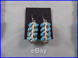 Vintage Navajo Handmade Sterling Silver Sleeping Beauty Turquoise Bead Necklace