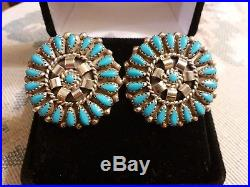 Vintage Navajo Large Sleeping Beauty Turquoise Sterling Silver Cluster Earrings