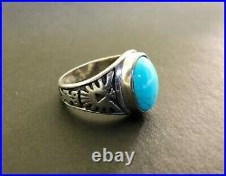 Vintage Navajo Men's Ring SLEEPING BEAUTY TURQUOISE Bird Sterling Silver Sz12.25