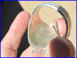 Vintage Navajo Ornate Sterling & Sleeping Beauty Turquoise Ring, R. Begay, sz 13