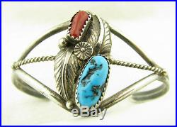 Vintage Navajo Red Coral Branch Sleeping Beauty Turquoise Sterling Cuff Bracelet