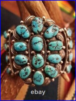 Vintage Navajo Sleeping Beauty Turquoise Cluster Sterling Silver Cuff Bracelet