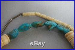 Vintage Navajo Sleeping Beauty Turquoise Shell Heishi Bead Necklace