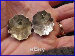 Vintage Navajo Sleeping Beauty Turquoise Sterling Silver Cluster Earrings