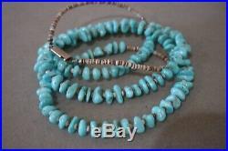 Vintage Navajo Sleeping Beauty Turquoise Stone Bead Heishi Shell Necklace