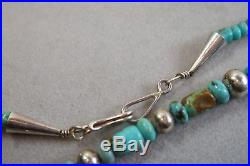 Vintage Navajo Sleeping Beauty Turquoise Stone Sterling Silver Bead Necklace