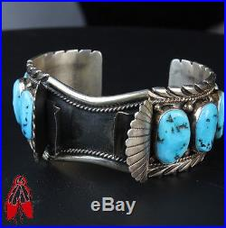 Vintage Navajo Sleeping Beauty turquoise WATCH bracelet sterling silver old pawn