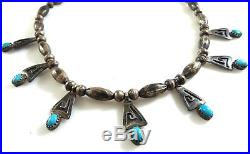 Vintage Navajo Squash Blossom Necklace Childs Turquoise Silver Sleeping Beauty