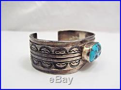 Vintage Navajo Stamped Sterling Silver Sleeping Beauty Turquoise Cuff Bracelet