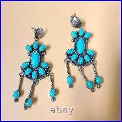 Vintage Navajo Sterling Silver Sleeping Beauty Turquoise Cluster Drop Earrings