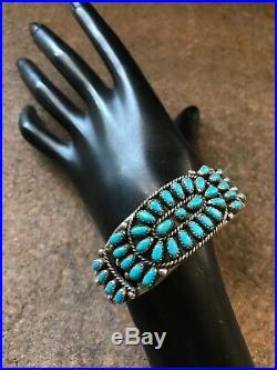 Vintage Navajo Sterling Silver Sleeping Beauty Turquoise Cuff Bracelet. K