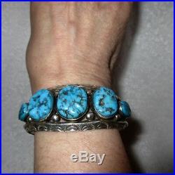 Vintage Navajo Sterling Silver Sleeping Beauty Turquoise Nugget Cuff Bracelet