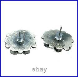 Vintage Navajo Sterling Silver Sleeping Beauty Turquoise Petit Point Earrings