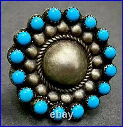 Vintage Navajo Sterling Silver Sleeping Beauty Turquoise Snake Eye Cluster Ring