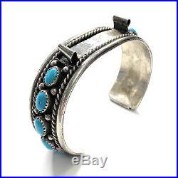 Vintage Navajo Sterling Silver & Sleeping Beauty Turquoise Watch Cuff Bracelet