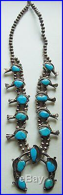 Vintage Navajo Sterling & Sleeping Beauty Turquoise Squash Blossom Necklace