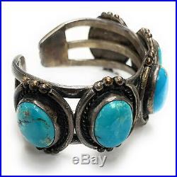 Vintage Navajo Tri-Shank Sterling Silver Sleeping Beauty Turquoise Cuff Bracelet
