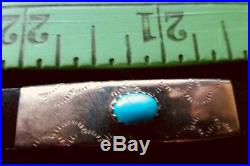 Vintage Navajo Turquoise Sterling Silver Hat Band Sleeping Beauty Turquoise