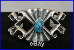 Vintage Navajo sleeping beauty turquoise and silver sand cast cuff bracelet